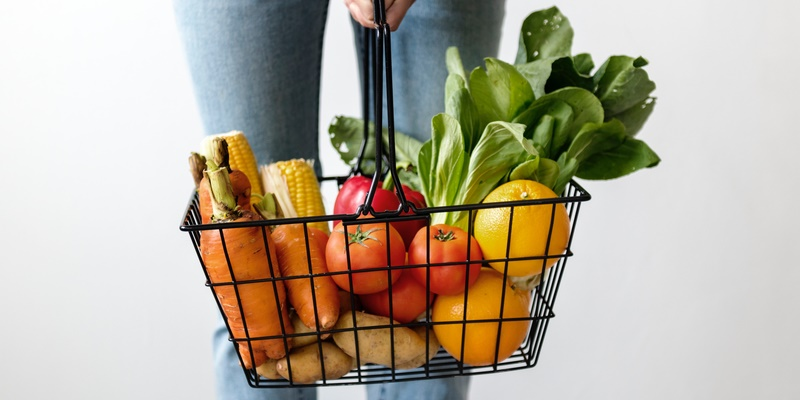 Shopping Basket of Fresh Vegetables and Fruit
