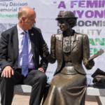 Chris Grayling MP with Emily Davison memorial statue. Credit: Rachel Thornhill