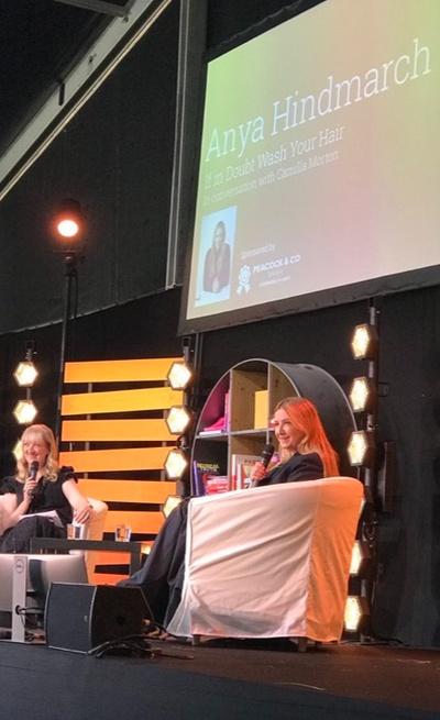 Anya Hindmarch with Camilla Morton at Wimbledon Bookfest
