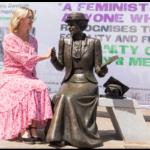 Kim Peacock with Emily Davison memorial statue. Credit: Rachel Thornhill