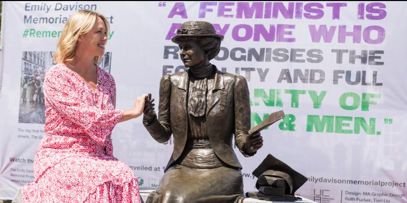 Emily Davison memorial statue and Kim Peacock