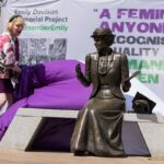 Relative of Emily Davison, Philippa Bilton unveils the statue. Credit: Rachel Thornhill