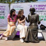 Head Girls of Rosebery School with Emily Davison memorial statue. Credit: Rachel Thornhill